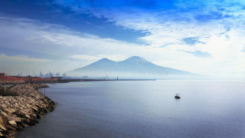 Mount Vesuvius. Sighted from the bay of Naples stock photo