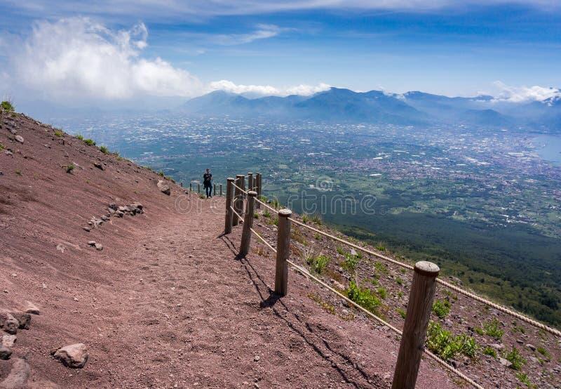 Mount Vesuvius. Path on Mount Vesuvius, Italy stock image
