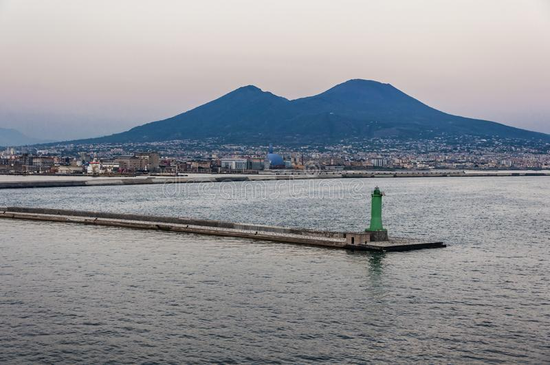 Mount Vesuvius from sea. Naples, Italy. View of Mount Vesuvius as seen from cruise ship on sunset stock images