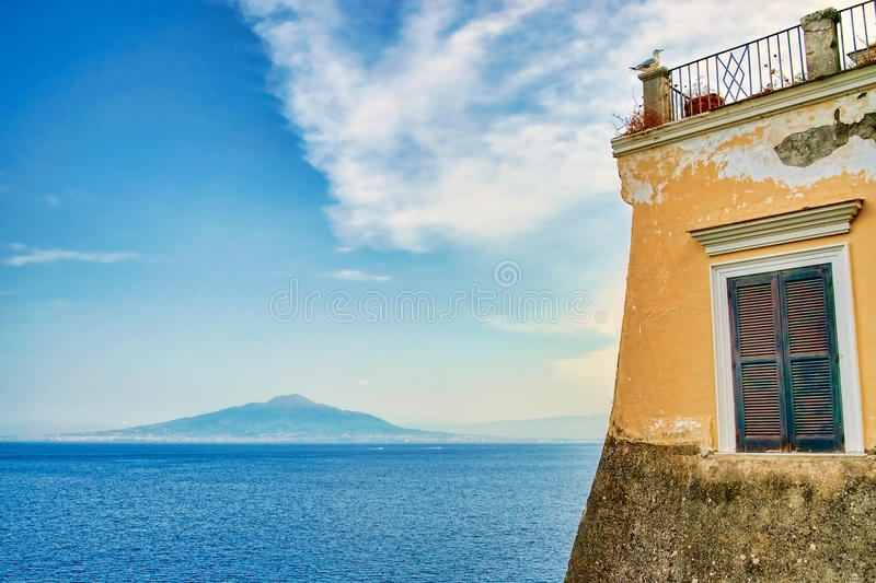 Mount Vesuvius from Sorrento. View of Mount Vesuvius and Gulf of Naples from a terrace in Sorrento stock image