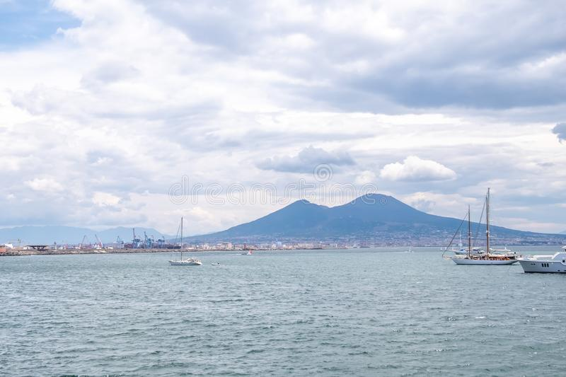 Mount Vesuvius. View of Mount Vesuvius from the shore of Naples royalty free stock images