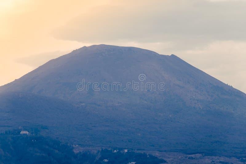 Mount Vesuvius. View of Mount Vesuvius from the shore of Naples royalty free stock photo