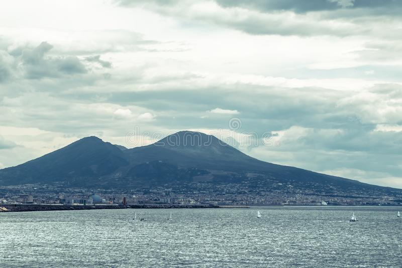 Mount Vesuvius. View of Mount Vesuvius from Naples stock image