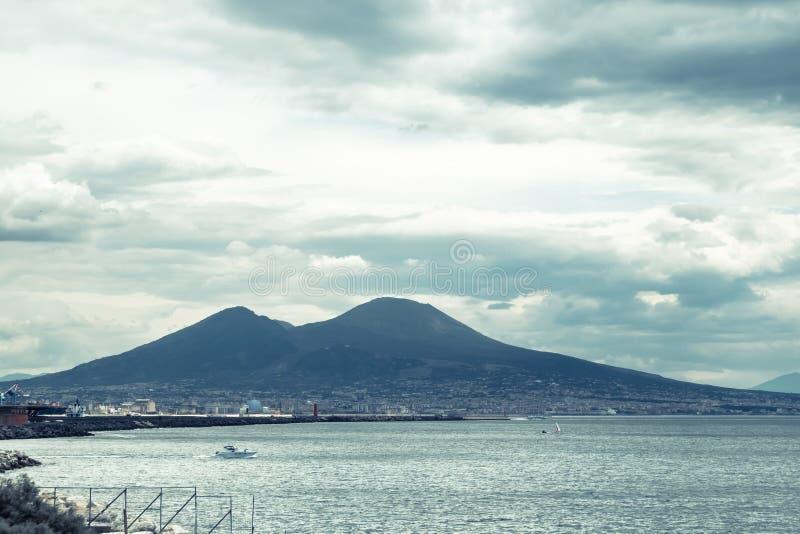 Mount Vesuvius. View of Mount Vesuvius from Naples stock photos