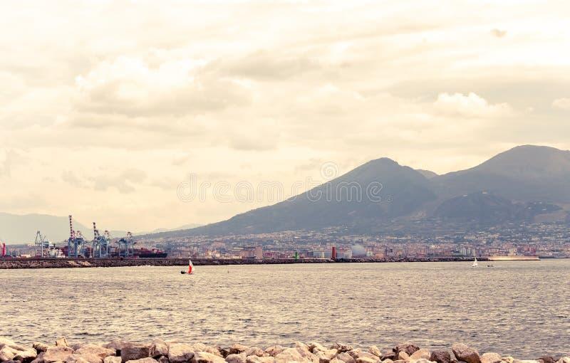 Mount Vesuvius. View of Mount Vesuvius from Naples royalty free stock images
