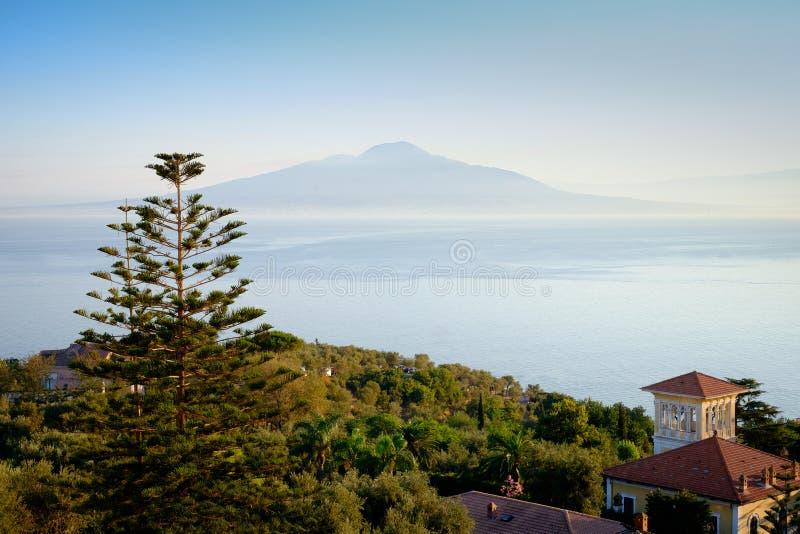 Mount Vesuvius. A view of Mount Vesuvius taken from Sorrento across the bay of Naples stock image