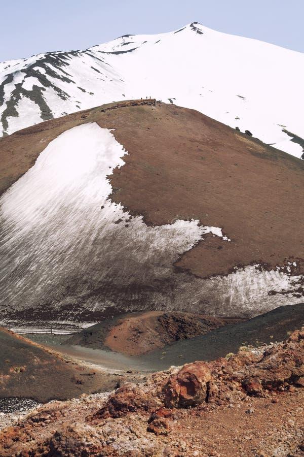Mount volcano Etna snow covered peak. Sicily, Italy. royalty free stock photos