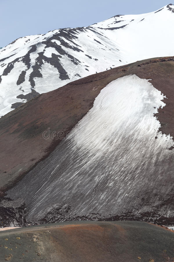 Mount volcano Etna, volcanic crater with snow. Sicily, Italy. stock photography