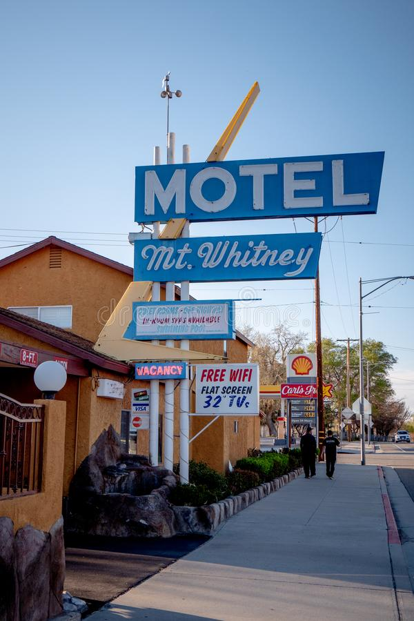 Mount Whitney Motel in the historic village of Lone Pine - LONE PINE CA, USA - MARCH 29, 2019. Mount Whitney Motel in the historic village of Lone Pine - LONE stock photo