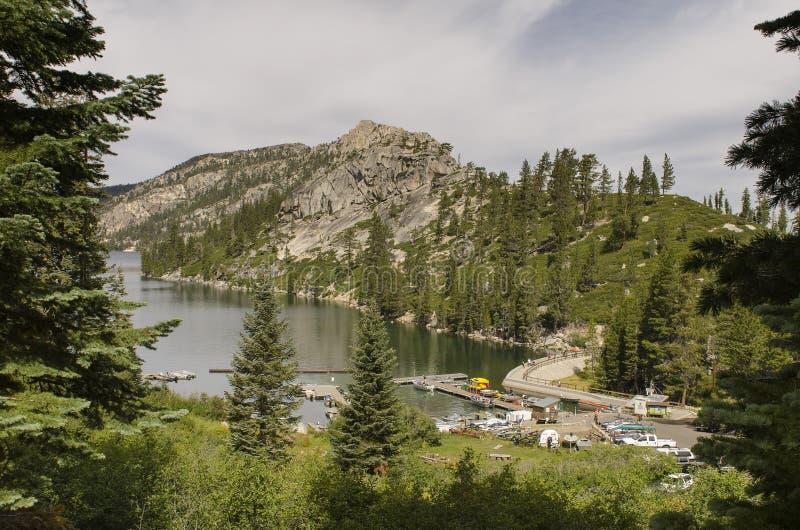 Mountain湖小游艇船坞 库存照片