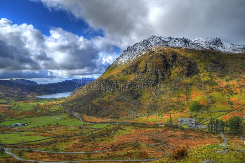 Mountain. HDR image of valley and mountain in Snowdonia park, Wales royalty free stock photo
