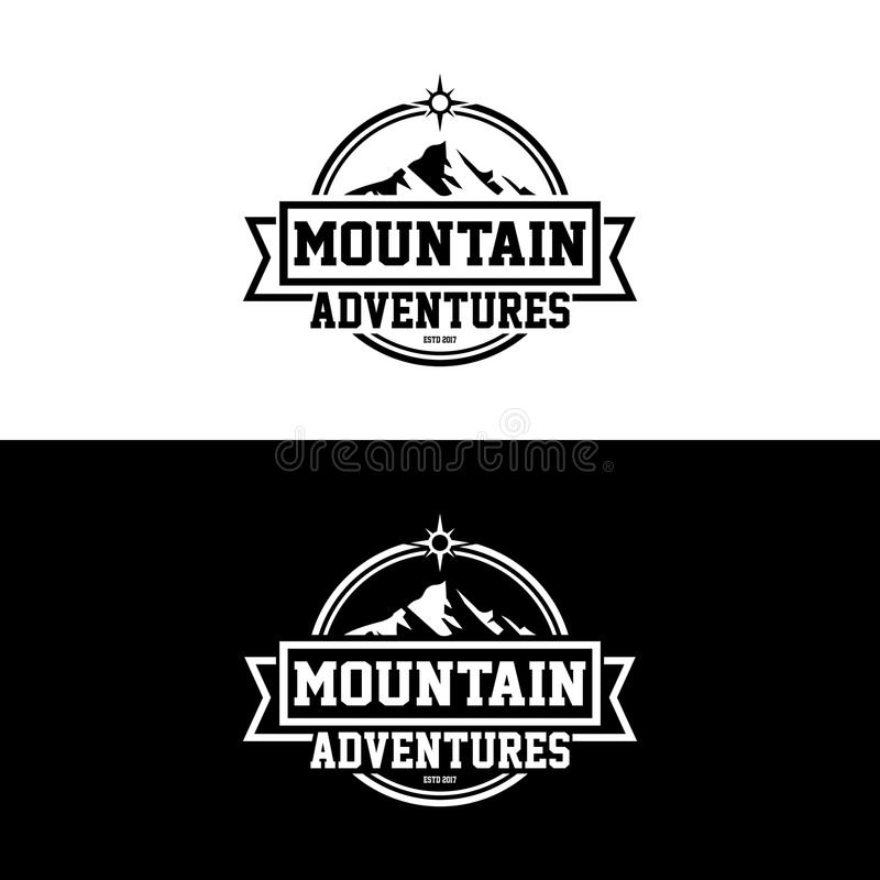 MOUNTAIN ADVENTURES VINTAGE AND RETRO VECTOR DESIGN royalty free stock photography