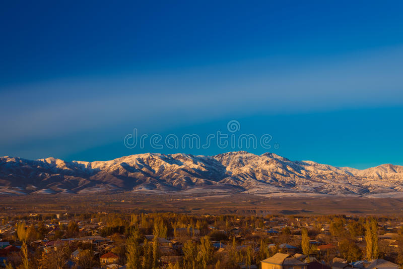 Mountain alps at sunset stock images
