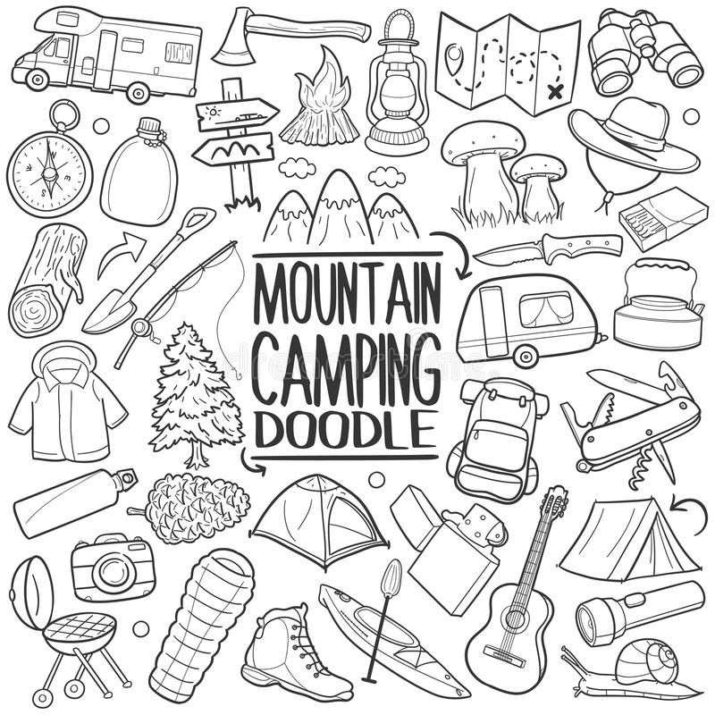 Free Mountain And Forest Camping Traditional Doodle Icon Hand Draw Set Stock Image - 102027021