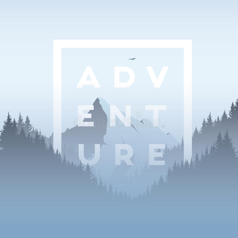 Free Mountain And Forest Landscape Vector Illustration With Foggy, Haze Mountains Valley. Royalty Free Stock Images - 84232409
