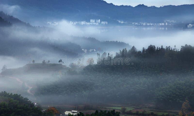 Mountain autumn mist stock photo