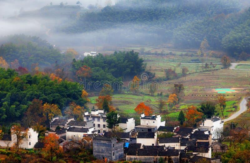 Mountain autumn mist royalty free stock images