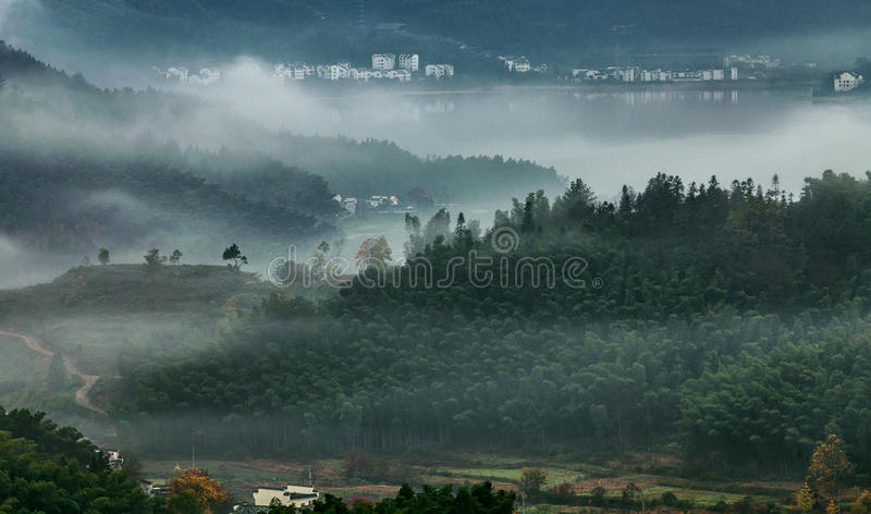 Mountain autumn mist stock photography