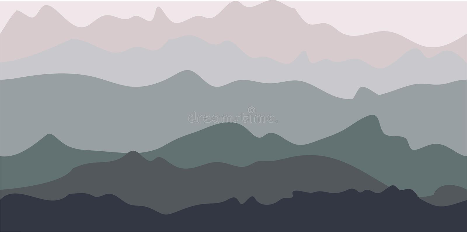 Mountain Background. Grey layers of hills vector illustration