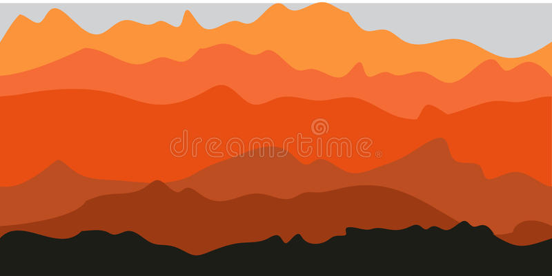 Mountain Background. Layers of hills stock illustration