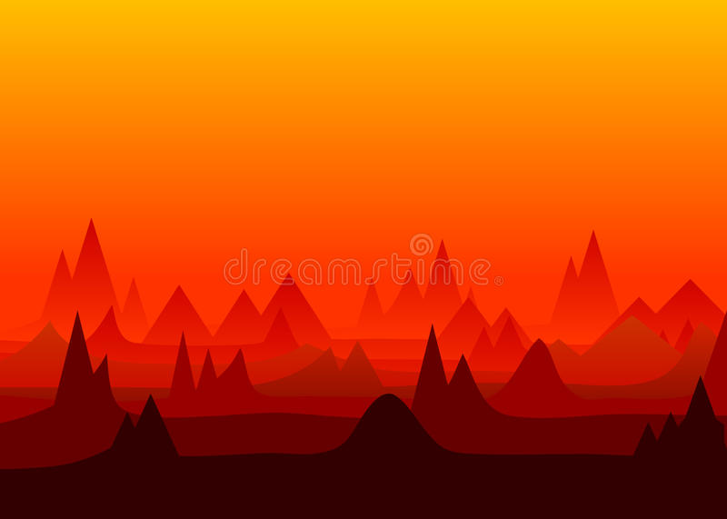 Mountain background. Red tops of a ridge of mountains against the sky vector illustration