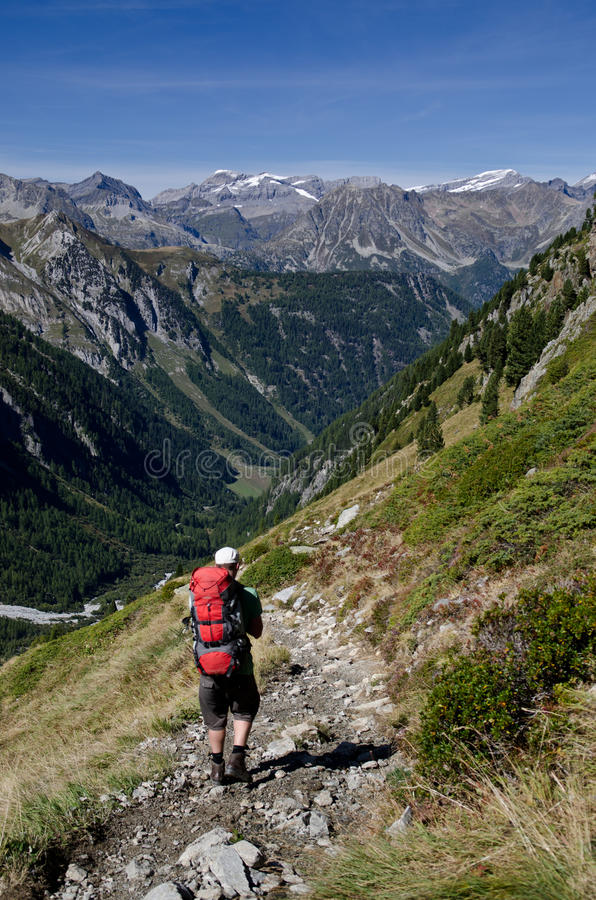 Mountain Backpacking stock photo