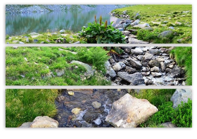 Mountain Banners Nature banner set Natural banners Lake Stones Grass River royalty free stock photos