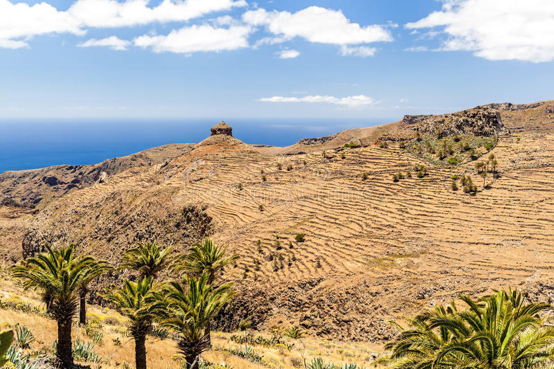 Mountain beautiful landscape, island and ocean. Mountains landscape, Canary Islands La Gomera, Spain royalty free stock photo