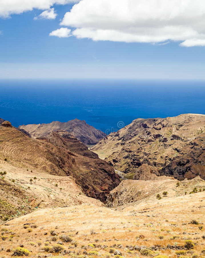 Mountain beautiful landscape, island and ocean. Mountains landscape, Canary Islands La Gomera, Spain royalty free stock images