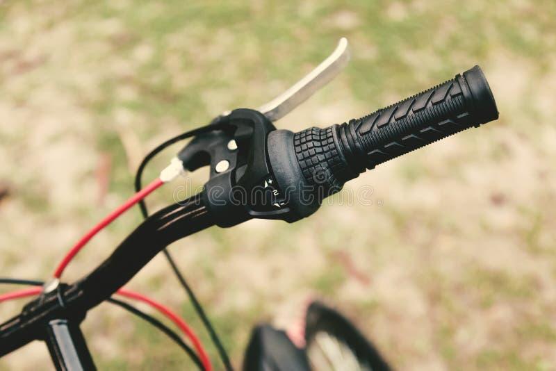 Mountain bicycle handle. stock photos
