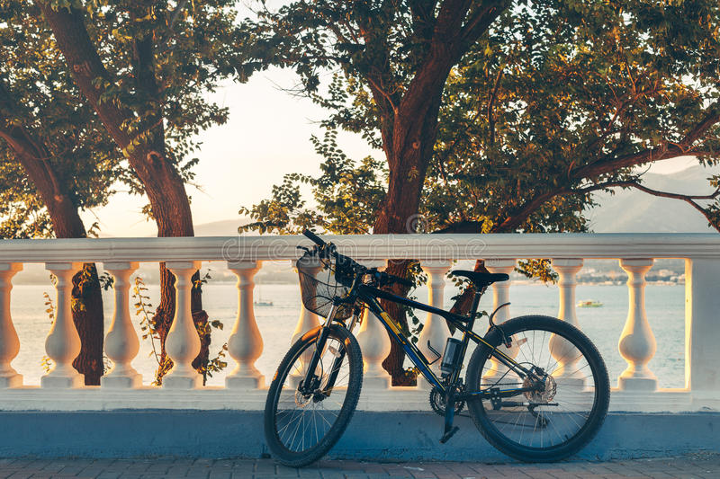 Mountain Bicycle Is Parked Near White Fence Health Leisure Urban Lifestyle Vehicle. Black Mountain Bicycle Is Parked Near White Fence On Tree Background Health stock image