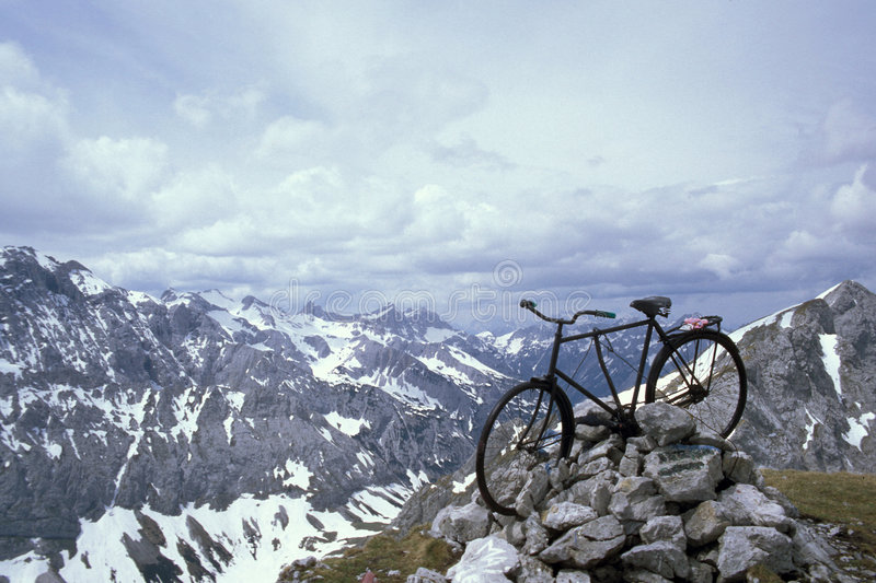 Mountain bike. On the top, Karwendel Mountains, Alps, Austria stock photos