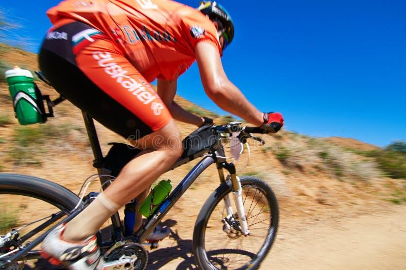Mountain bike adventure competition stock photos