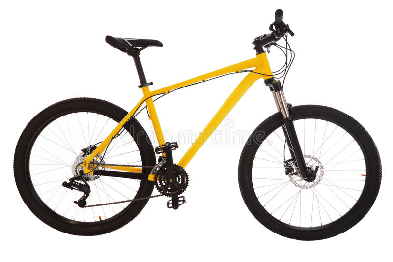 Mountain bike amarelo isolado no fundo branco imagem de stock royalty free