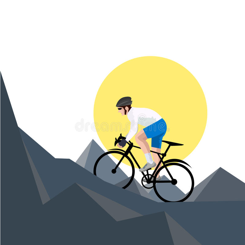 Mountain bike bicycle riders in wild nature landscape background. Illustration vector illustration