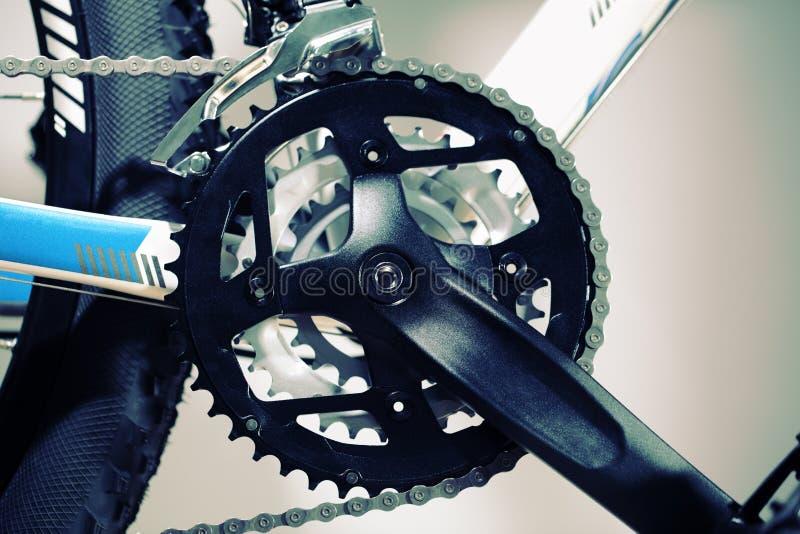 Mountain bike. Chain set, pedal and wheel stock photo