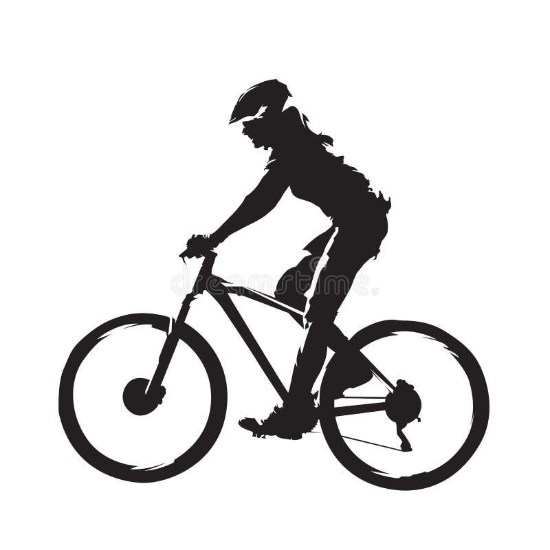 Mountain bike di guida della donna, vista laterale royalty illustrazione gratis