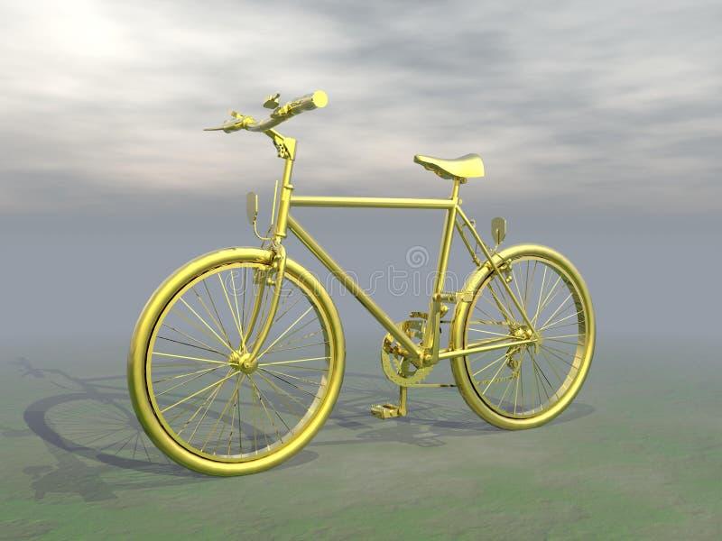 Mountain bike dorato - 3D rendono illustrazione vettoriale
