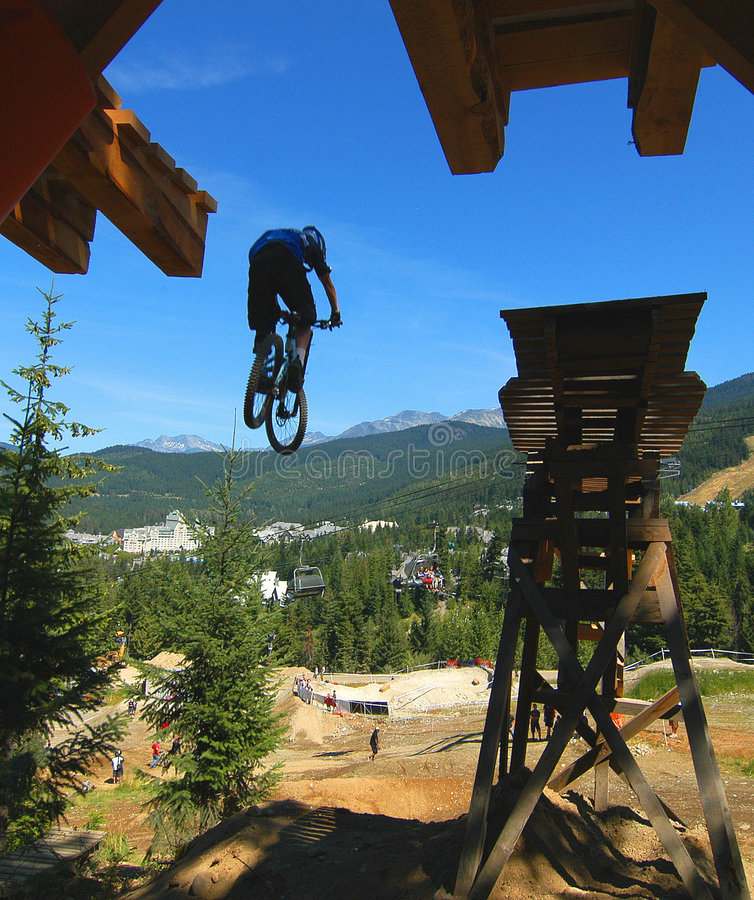 Download Mountain Bike Drop Stunt stock image. Image of forest - 1129661