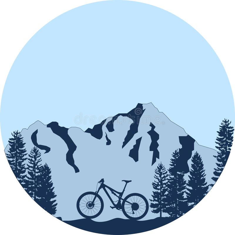 Mountain bike em declive ilustração stock