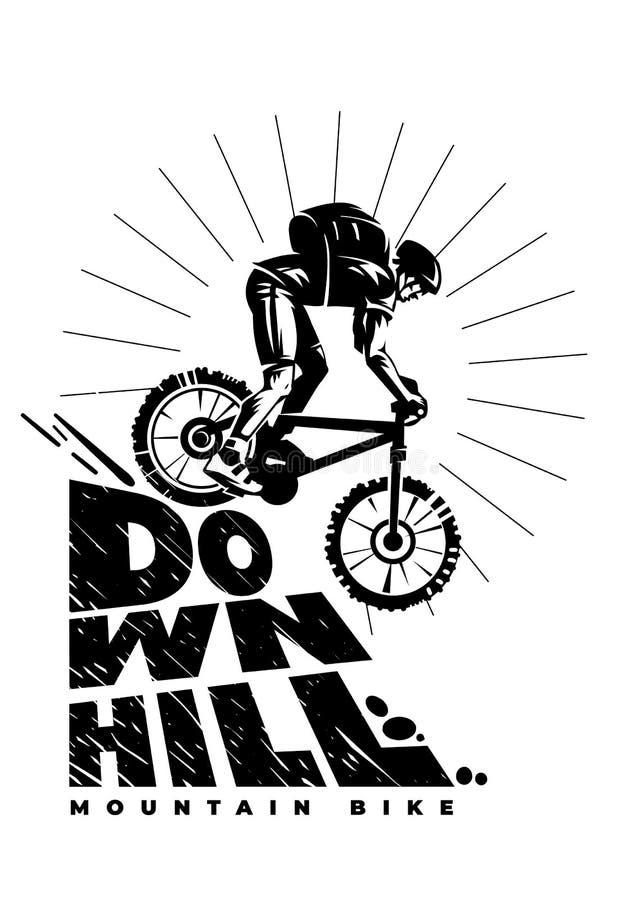 Mountain bike em declive ilustração royalty free