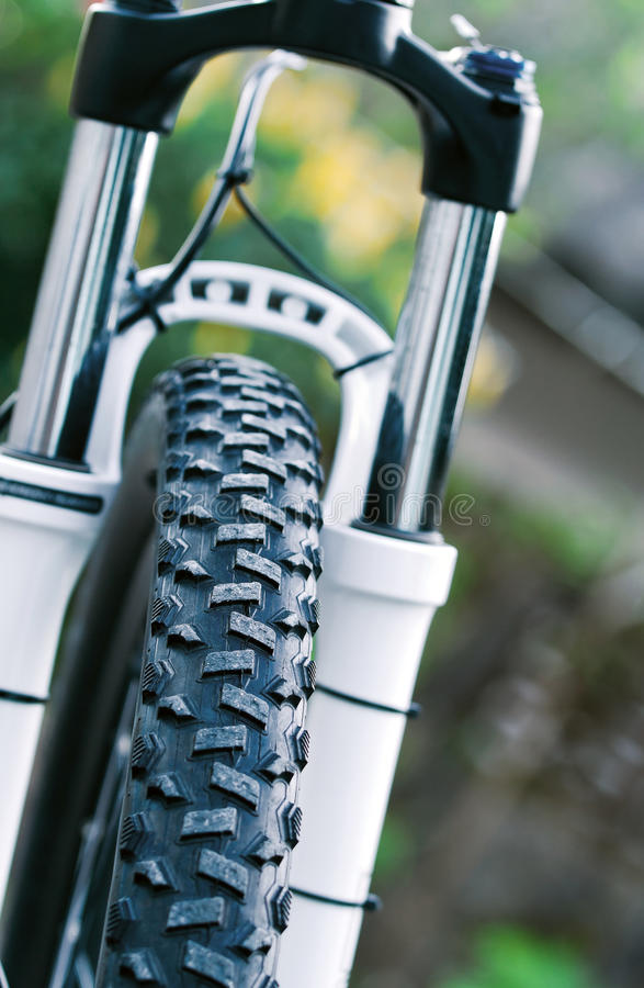Mountain bike front wheel stock images
