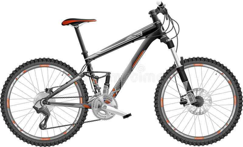 Download Mountain Bike Full-suspension Stock Vector - Illustration of country, black: 26605292