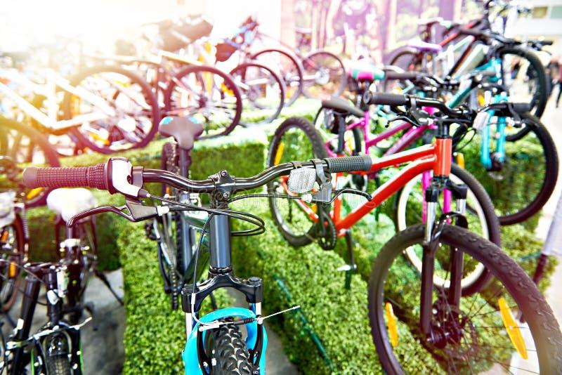 Mountain bike modernos na loja dos esportes foto de stock