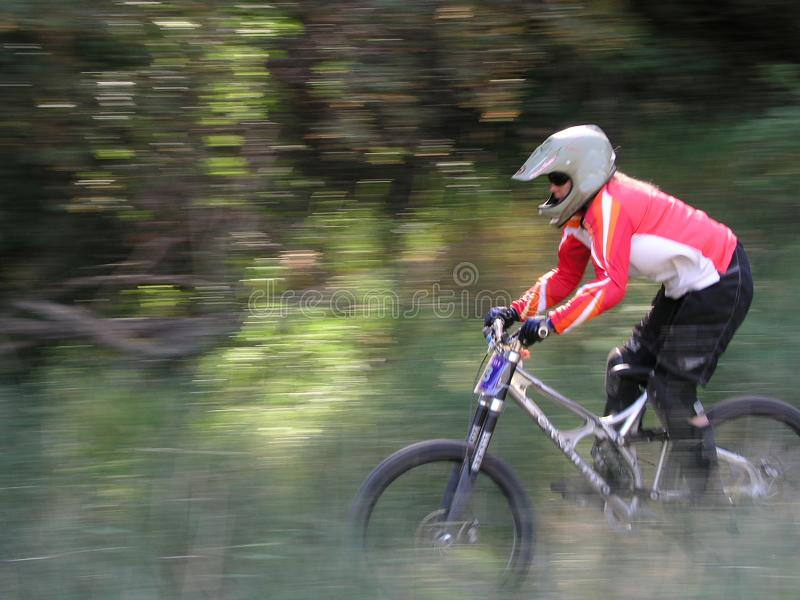 Mountain bike motion panning stock photo