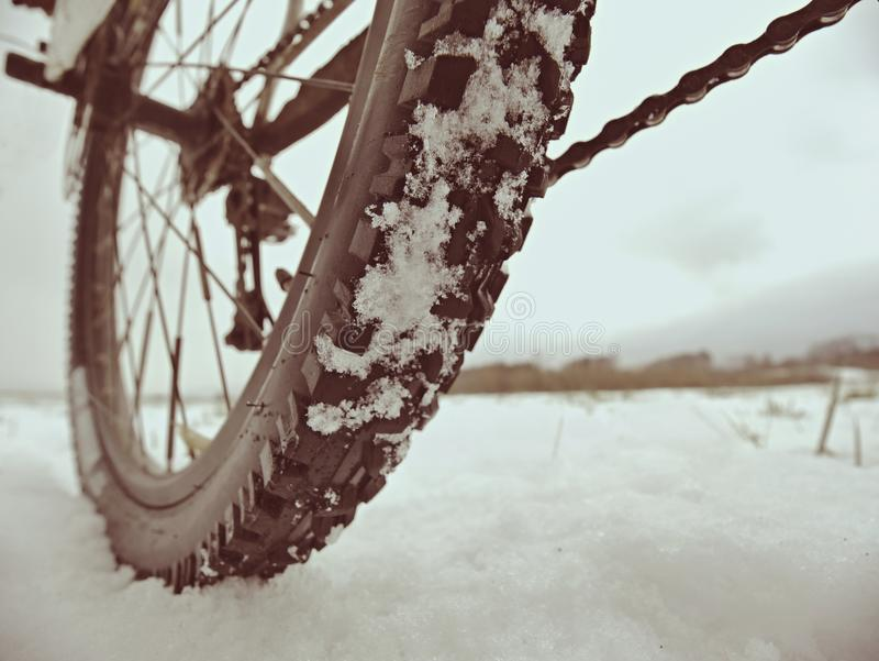 Mountain bike in powder snow. Lost path in snowdrift. Wheel detail. Mountain bike stay in powder snow. Lost path in snowdrift. Wheel detail. Snow flakes melting royalty free stock image