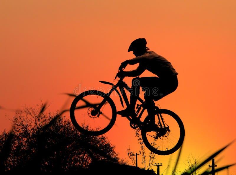Mountain bike racer stock images