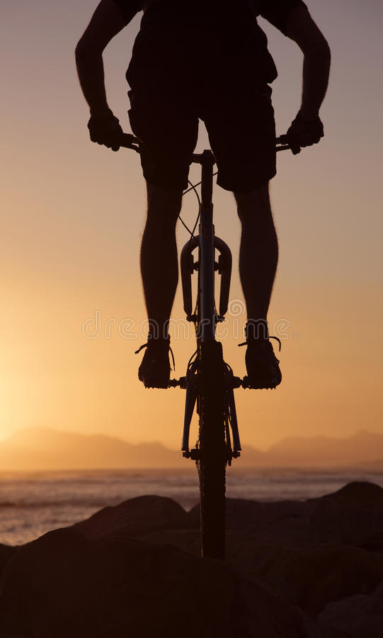 Mountain bike rider and sunset South Africa royalty free stock photos