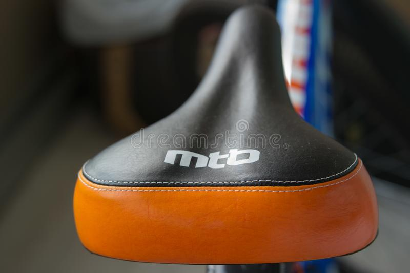 Mountain bike saddle with the inscription MTB.  stock photo