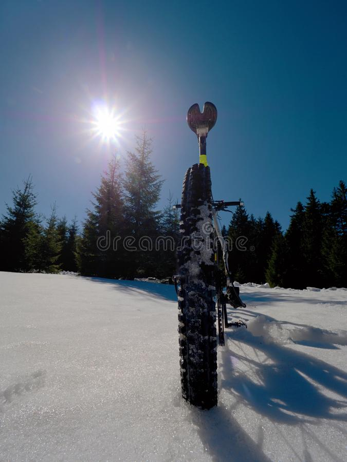 Mountain bike in snow. Cycling on large tire wheels in fresh snow. stock images